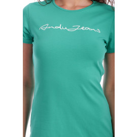 Tricou Free Text Casual Fit  Turquoise